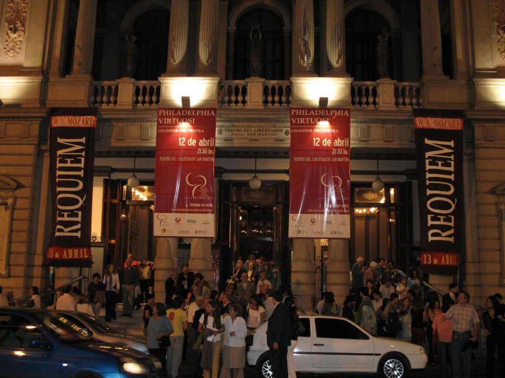 A happy sell-out audience leaving the Teatro de Libertador in Cordoba, Argentina